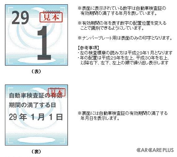 「検査標章」でも年月まで確認できる (出典/国土交通省: http://www.mlit.go.jp)