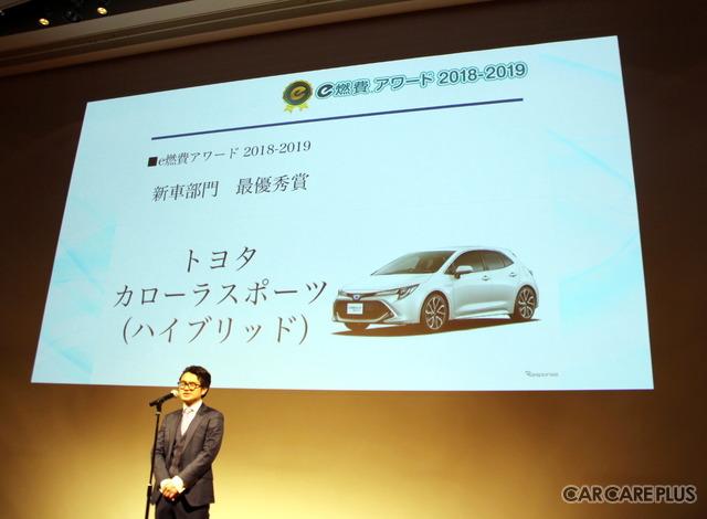 「e燃費アワード2018-2019」新型車部門・最優秀賞に選ばれたのは、トヨタ・カローラスポーツ(ハイブリッド)