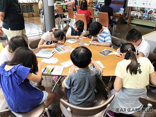 子供達が店長になり、商品の色塗り(仕入れ)、陳列や声かけ(集客)、値決めや交渉(売上げ)、前後のお金の増減(利益)を体験