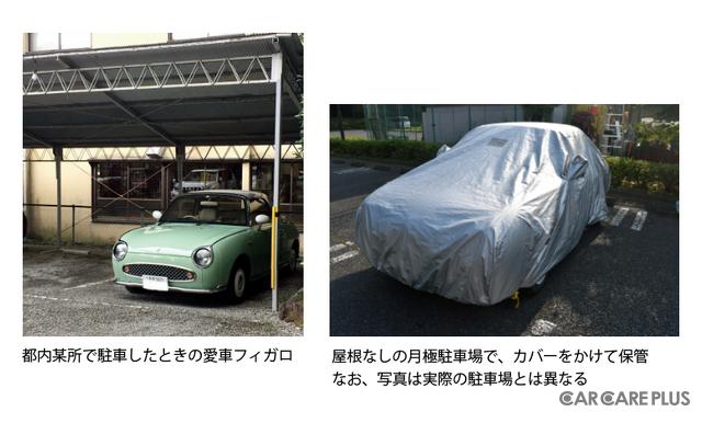 都内某所で駐車中のフィガロ。普段は屋根なし駐車場でカバーをかけて保管。※写真は実際の駐車場とは異なる