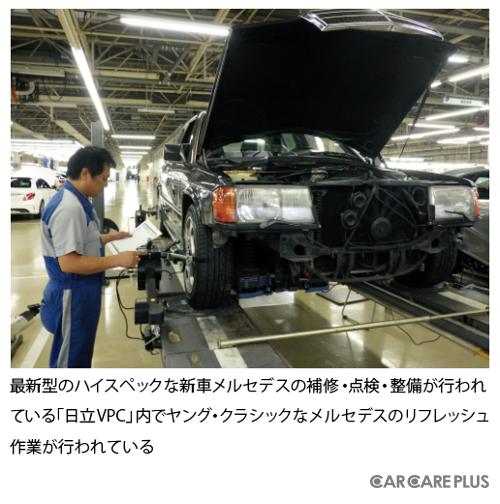 最新型のハイスペックな新車メルセデスの補修・点検・整備が行われている「日立VPC」内でヤング・クラシックなメルセデスのリフレッシュ作業が行われている
