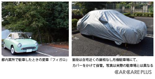 写真左は、都内某所で駐車したときの愛車「フィガロ」。普段は、写真右のように屋根なしの月極駐車場にて、カバーをかけて保管している。なお、写真と実際の駐車場は異なる